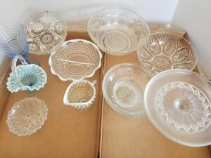 Glassware Including Variety of Bowls, Pedestal Cake Plate, Knick Knacks, Relish Dish and Cream Pitcher