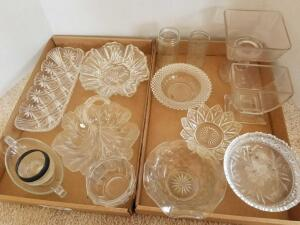 Glassware Including Candy Dishes, Pedestal Compote Bowl, Relish Dish and Jars