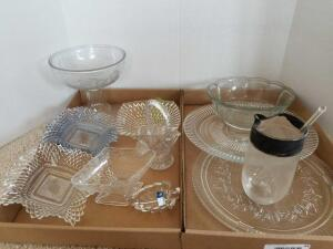 Glass bowl, Glass Platters (2), Pedestal Compote Bowl, Mixer Glass, Candy Dishes