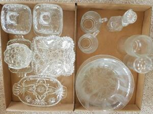 Glass Candy Dishes, Relish Dish, Oil and Vinegar Jar, Plates, Glasses (3), and Serving Bowl