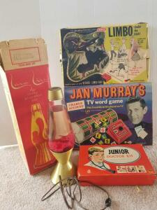 Vintage Games Including Limbo Under The Bar, Jan Murray's TV Word Game, Junior Doctor Kit, Lava Lamp (Games May Not Work or Are Missing Pieces)