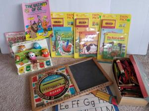 Vintage Young Children Toys, Including Word Board, Cassette Stories, Animal Piano, Crayons and Books