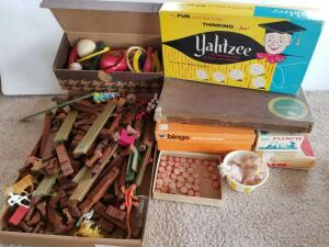 Vintage Board Games Including Yahtzee, Scrabble Bingo, Wooden Bowling Pins, and Lincoln Logs