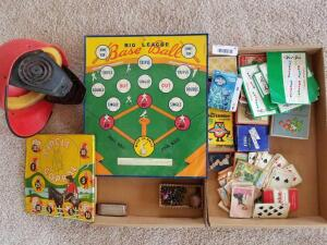 Vintage Games Including Metal Big League Game, Circle Corral, Baseball Helmet, and Variety of Playing Cards