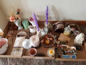 Knick Knacks Including Candles, Figurines, Planter, Candy Dish and Coasters