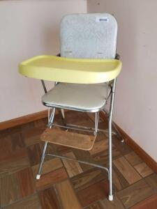 Vintage Metal Framed High Chair with Vinyl Seat and Back