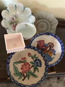 Ceramic Pie Plates, Decorative Serving Bowls, and Pedestal Candy Dish