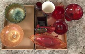Colored Glass Pedestal and Serving Bowls and Vases
