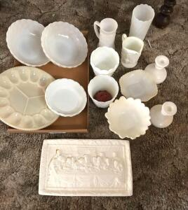 Milk Glass Pedestal Vases, Candle Sticks, Candy Bowls, Serving Bowls, and Deviled Egg Plate