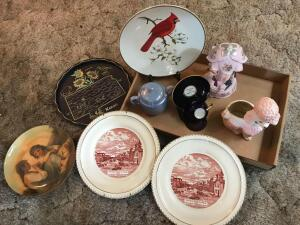 Decorative Wall Plates, Metal Kansas Tray, Pink Poodle Planter, Pink Fairy Music Box, and Blue Sugar Bowl