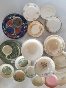 Mismatched China Pieces Including Serving Bowls, Plates, Coffee Cups, Saucers, Dessert Plates