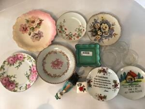 Decorative Plates, Candy Dishes, Candle Holder, and Trinket Box
