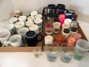 Large Lot of Coffee Mugs, Various Shapes, Sizes and Colors