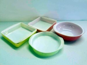 Pyrex bakeware- Salmon pink 8in round, Lime Green 8in cake round, Desert Dawn Pink Speckled 8in square and Desert Dawn Yellow Speckled 8in square
