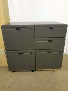 2 matching gray office cabinets- one has 2 drawers and 1 file drawer, one has 2 file drawers