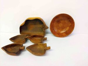 Monkey Pod Wood Salad Bowl Set and Woven Wood Salad Bowl