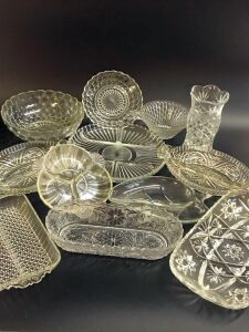 Glass Relish Trays, Serving Tray, and Serving Bowls