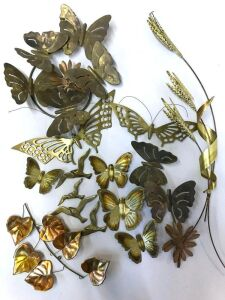 Brass decor- butterflies, leaves, brass decorative wall plates, and wheat