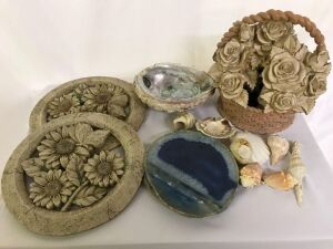 Sea shells, Water Fountain floral Basket, Stepping Stones, Blue Agate Geode slice