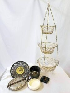 Gold metal woven basket, sifter, canteen, pen holder, decorative pkate