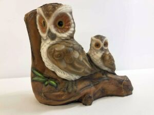 Cement Owls on branch- 12in tall x 16in long