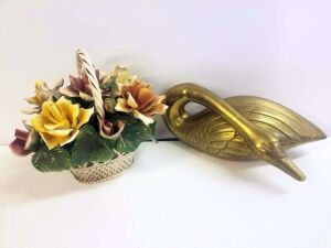 Golden Swan made in Korea and painted ceramic Flowers in a Basket, made in Italy(some petals are damaged or chipped)