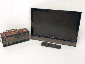 "18"" Vizio Television and SoundESign Radio/Cassette Clock"