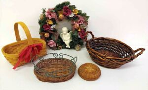 "14"" Cherub Wreath and Baskets"
