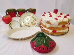 Strawberry casserole dish, 3 strawberry mugs, 2 strawberry plates, 1 strawberry dish