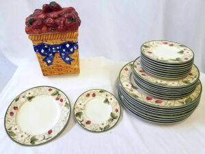 Strawberry cookie jar and Strawberry plates (Dinner, Salad, Dessert) service for 8