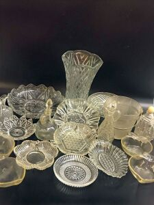 Glass Decorative Bowls, Oil/Vinegar Cruets, and Vases