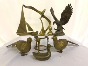 Brass Birds, Brass Seashell, candle holder, vintage wall hangings- Charity, Faith, Hope