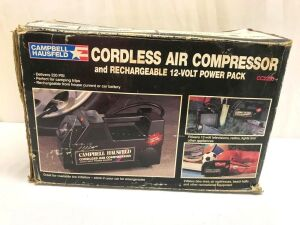 Campbell Hausfeld Cordless Air Compressor and Rechargeable 12-Volt Power Pack CC2200 Serial No. G22-093-2093663-Used In Box (1)