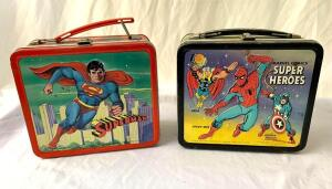 Metal lunchboxes- 1978 Superman and 1976 Marvel Comics Super Heros