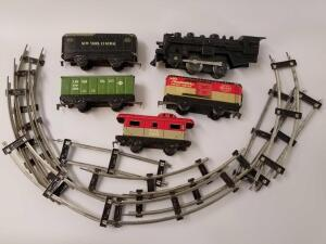 Marx Toys metal New York Central System train and train cars, caboose, and metal tracks