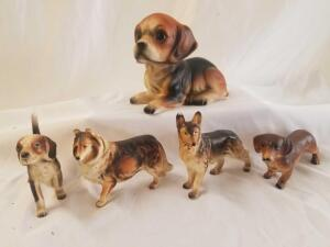 Ceramic dogs- smaller dogs approx 4in each