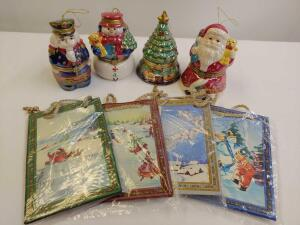 Porcelain Christmas Music Boxes (Santa and the Nutcracker are broken) and Mini Gift Bags