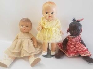 Two Composition babies and one Ideal baby with Google eyes- early plastic