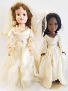 2 Bride Dolls- Shindana Toys black bride and 1955 American Character 19in Sweet Sue white bride