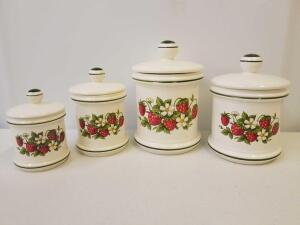 Matching set of 4 ceramic canisters with strawberries