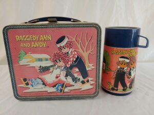 1973 Raggedy Ann And Andy Metal Lunchbox With Thermos