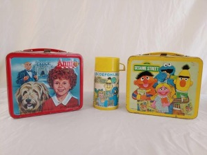 1979 Sesame Street With Thermos and 1981 Annie, No Thermos - Both Metal Lunchboxes