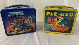 1980 Pac-Man with decanter and 1983 Masters of the Universe metal lunch box