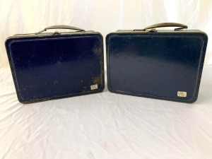Blue and Silver Metal Lunchboxes Without Thermoses