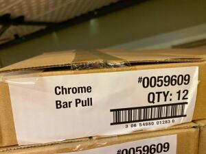 "Chrome Bar Cabinet Pull, 3"" center, Item No. 0059609, 12 per box, 4 boxes (48 total)"