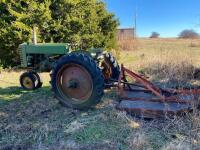 "1952 JD ""MT"" gas tractor, narrow front, 2pt hitch, no draw bar, Ser #38711, plus older rotary mower, runs - 2"