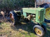 "1952 JD ""MT"" gas tractor, narrow front, 2pt hitch, no draw bar, Ser #38711, plus older rotary mower, runs - 3"