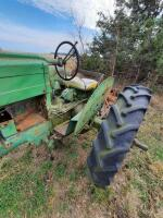 "1952 JD ""MT"" gas tractor, narrow front, 2pt hitch, no draw bar, Ser #38711, plus older rotary mower, runs - 4"