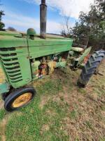 "1952 JD ""MT"" gas tractor, narrow front, 2pt hitch, no draw bar, Ser #38711, plus older rotary mower, runs - 5"