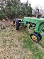 "1952 JD ""MT"" gas tractor, narrow front, 2pt hitch, no draw bar, Ser #38711, plus older rotary mower, runs - 6"
